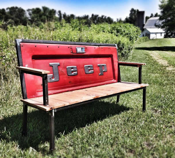 Blue Collar Bench: vintage tailgate used in bench by Yesterday Reclaimed – upcycleDZINE