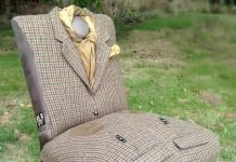 Upcycled vintage chairs wrapped in jackets by Rescued Retro Vintage – upcycleDZINE