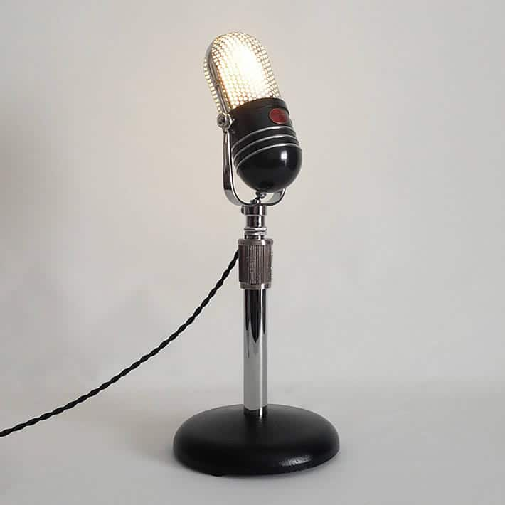 Retro Microphone Desk Lamp by microphonic – upcycleDZINE