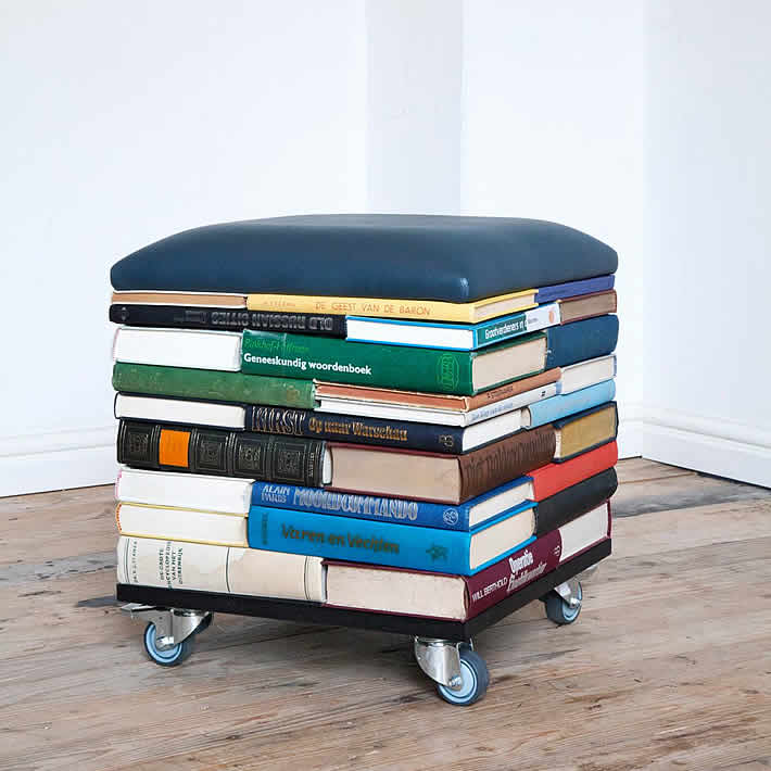 BookPouf: stacked books furniture by Sledgecorner – upcycleDZINE