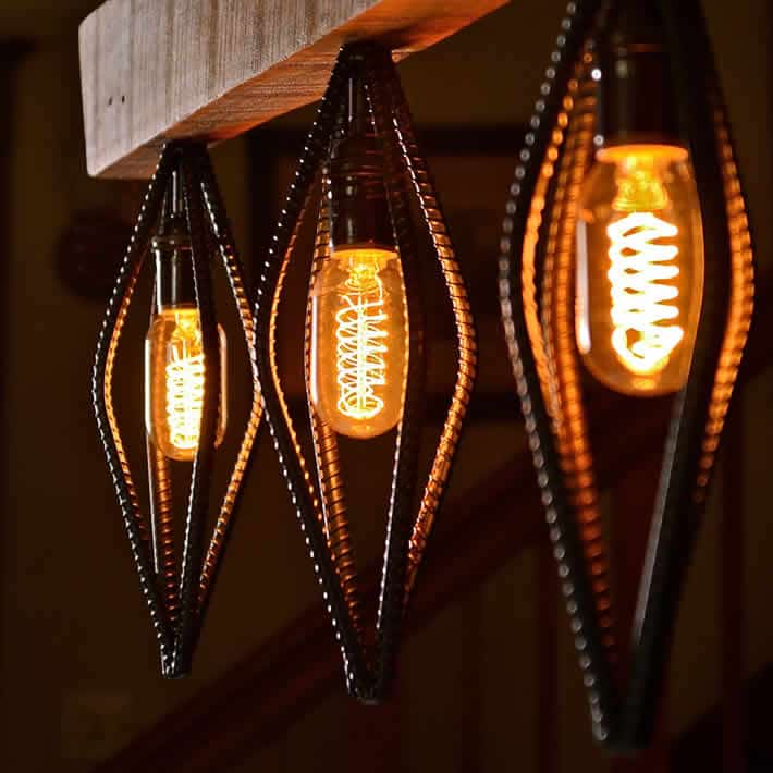 Industrial Barn Wood and Rebar Light Fixture by Rebarn Designs – upcycleDZINE