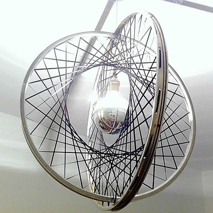 Excellent DIY: upcycle bicycle rims into Boole pendant light by Releve Design XQ75