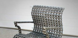 Scrap Metal Chain Modern Arm Chair by Recycled Salvage Design