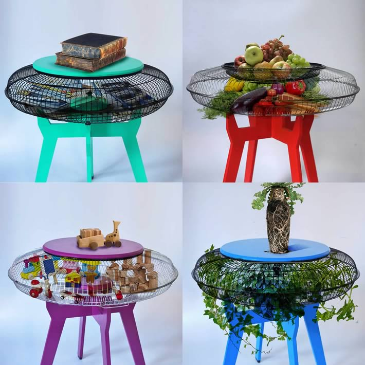 4 side tables made with ventilator/fan guards